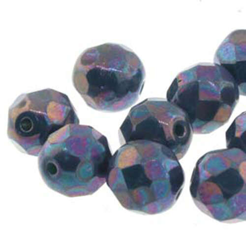 4mm Nebula Jet Round Faceted Beads - 40 Bead Strand - 6-FPR0423980-15001