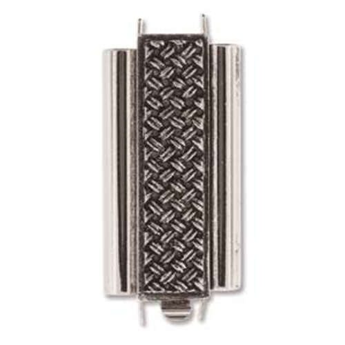 Beadslide Clasp Cross Hatch - Antique Silver - CLSP207AS-30