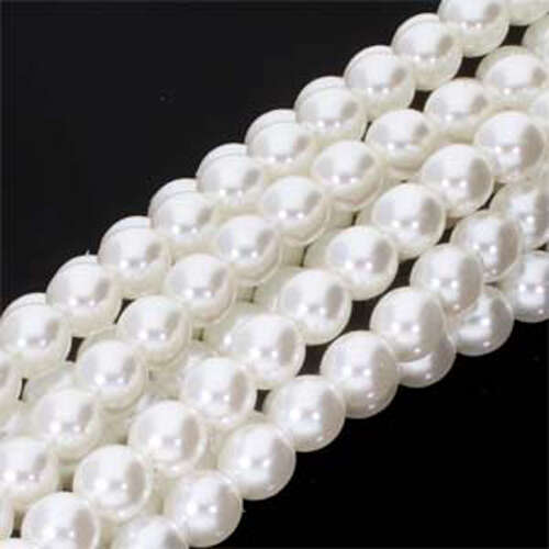 4mm Czech Glass Pearl - 120 Bead Strand - PRL04-70400 - White