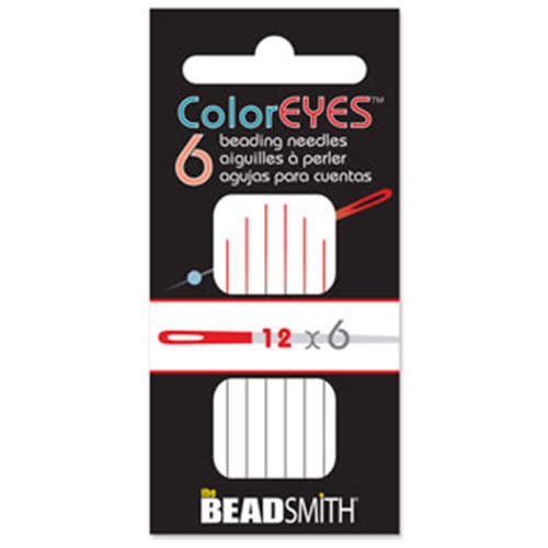 Color Eye - 6 Pack of #12 Beading Needles with Red Tip - BNCE126