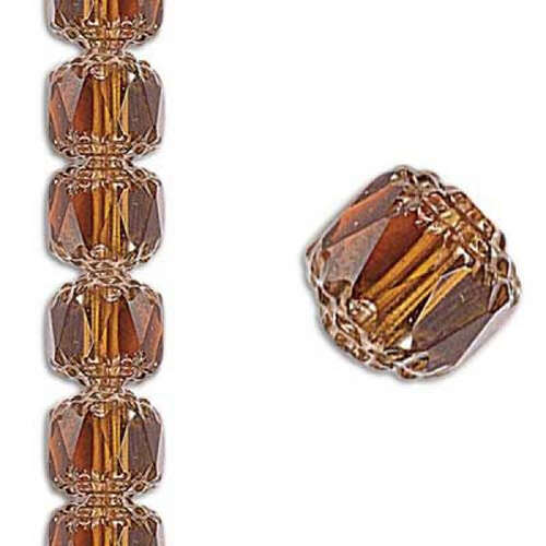 8mm Crown Honey Picasso Antiqued Bronze - 22 Beads Strand - 10020/14415