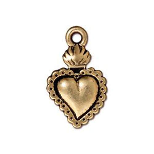 Heart Milagro Drop - Antique Gold