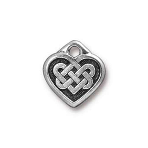 Celtic Heart Small Drop - Antique Silver