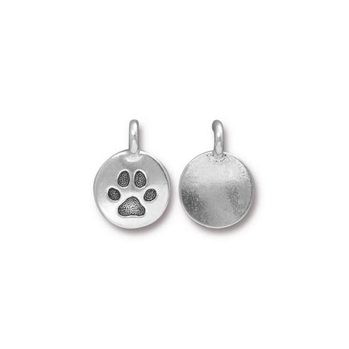 Paw Charm - Antique Silver