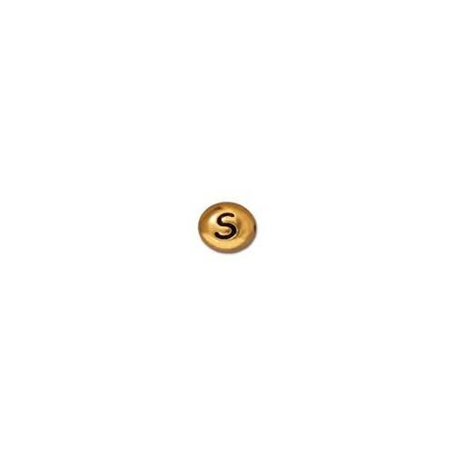 Letter S Bead - Antique Gold