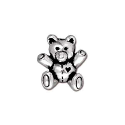 Teddy Bear Bead - Antique Silver