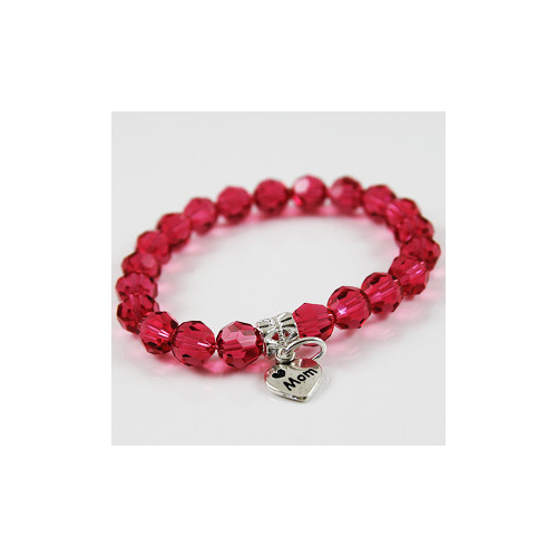 Love Mom Charm Bracelet with Swarovski Round Crystal - Indian Pink