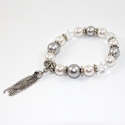 Mia Bracelet - Swarovski® Crystal and Pearl with tassel on elastic - Crystal, Light Grey and White