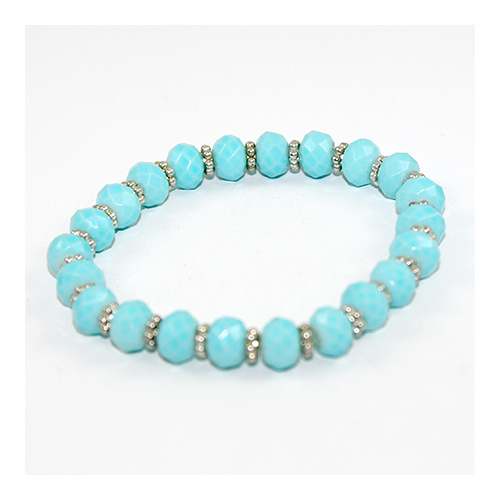 Rondelle and Daisy elastic bracelet - blue