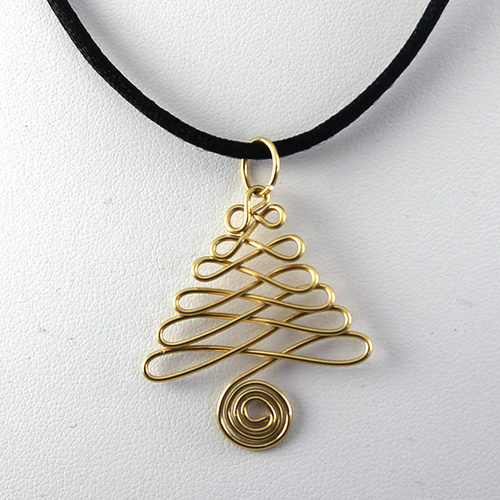 Wired Christmas Tree Pendant - Gold