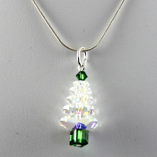 Crystal Christmas Tree Pendant - Crystal AB & Dark Moss Green