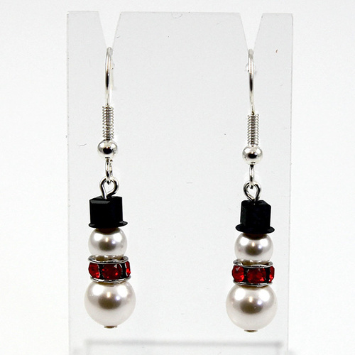 Snowman Earrings - Pearl