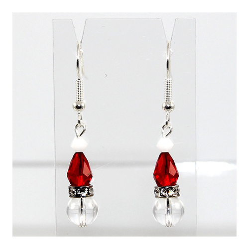 Crystal Santa Hat Earrings - Silver