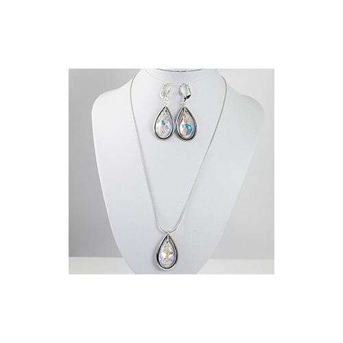 Swarovski Crystal Pear Pendant with TierraCast Frame - Crystal & Silver Plate - Pendant & Earring Set