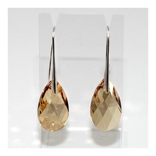 Pear Earrings - Swarovski® Crystal Golden Shadow