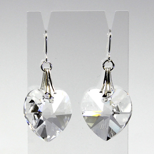 Deco Heart Earrings - Swarovski® Crystal - Crystal
