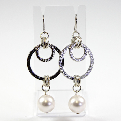 Deco Earrings - Swarovski Crystal Pearl -  Crystal White & Silver