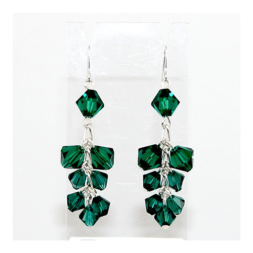 Cluster Earrings - Swarovski© Crystal - Emerald