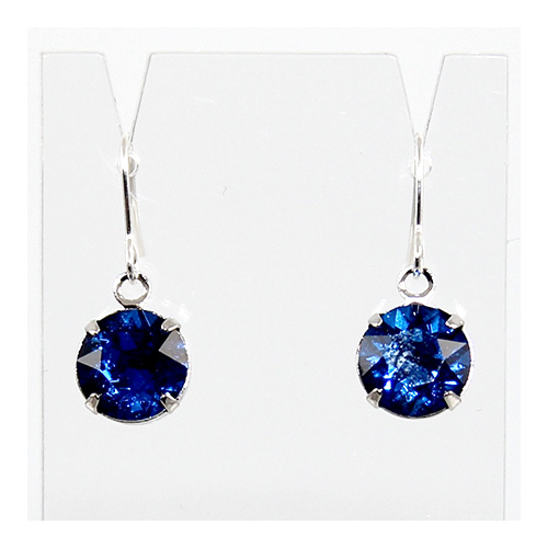 Round Drop Earrings - Swarovski© Crystal - Capri Blue