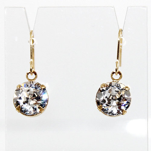 Round Drop Earrings - Swarovski© Crystal - Gold & Crystal