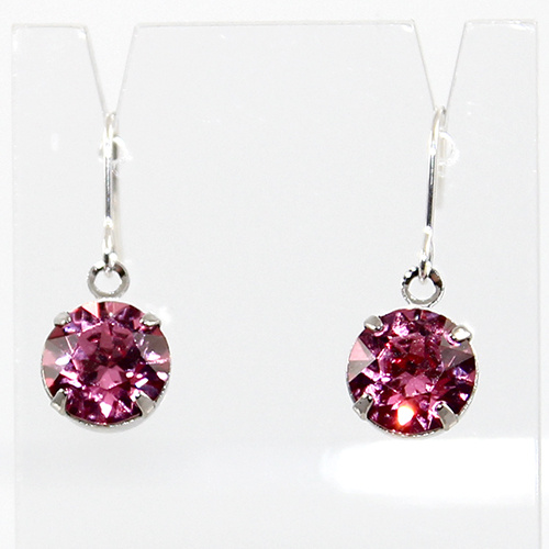 Round Fancy Drop Earrings - Swarovski© Crystal - Rose