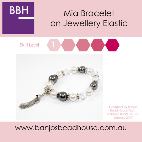 Mia Bracelet Kit - Swarovski® Crystal and Pearl on elastic - Dark Grey and White