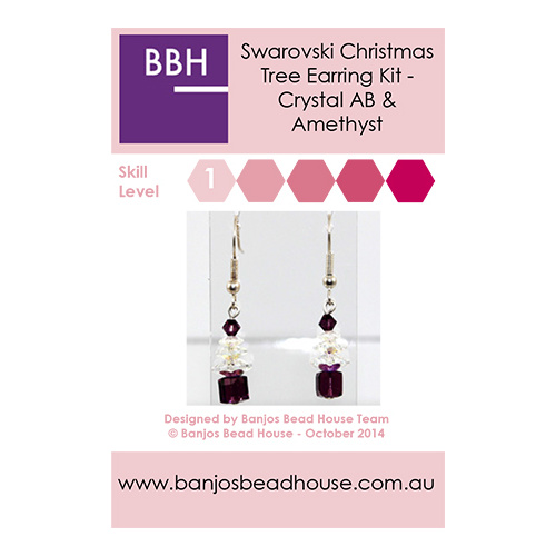 Earring Kit - Swarovski Crystal Christmas Tree - Crystal AB & Amethyst - Silver Findings