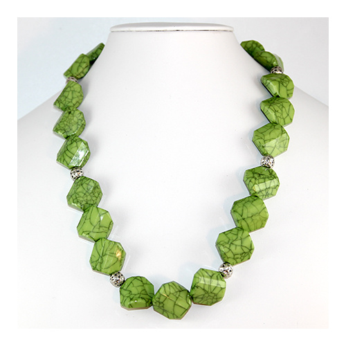Riley Necklace - Apple Green - Square Resin and Hammertone Balls