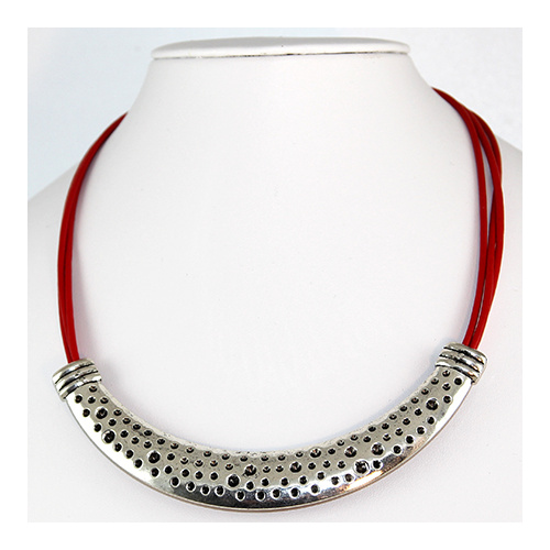 Madonna Necklace - Red & Antique Silver