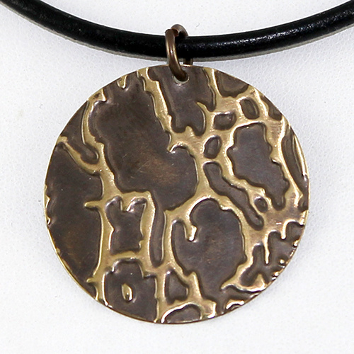 Embossed Natural Brass Pendant - Organic Spots