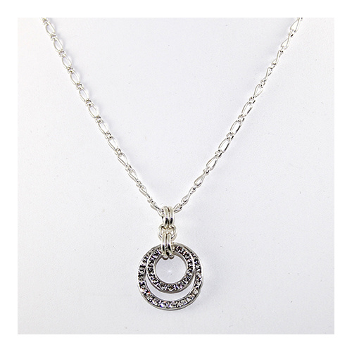 Rhodium Double Circle Pendant on Silver Plate Filagree Chain - Swarovski© Crystal