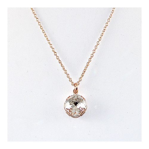 Antique Square Pendant - Swarovski© Crystal Rose Gold Pendant on Rose Gold Plate Chain