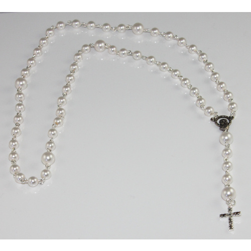 Pearl Rosary Beads with Silver Baguette Cross - Swarovski© Crystal and Antique Silver Plated