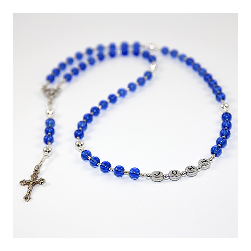 Name Rosary Beads - Blue Glass and Silver with 25mm Crucifix