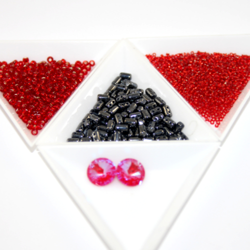 BBH - Rolling Rivoli - Earring Kit - Royal Red Delite & Hematite