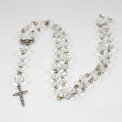 Crystal Rosary Beads with 25mm Gilt Crucifix - Swarovski© Crystal and Antique Silver Plated