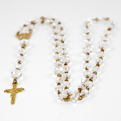 Crystal Rosary Beads with 25mm Gilt Crucifix - Swarovski© Crystal and Gold Plated