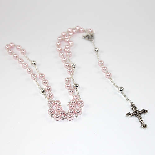 Pearl Rosary Beads with Our Father chain detail - Swarovski© Crystal Pearl and Silver Plated Chain
