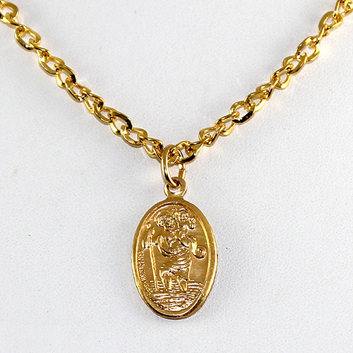 St Christopher Gold Plate Pendant on Chain or Leather