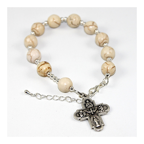 One Decade Rosary Bracelet - Cream Howlite