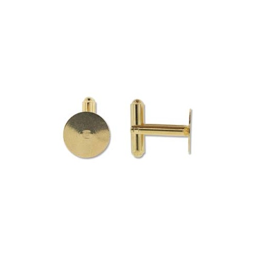 13mm Flat Pad Cufflink - Gold, Pair