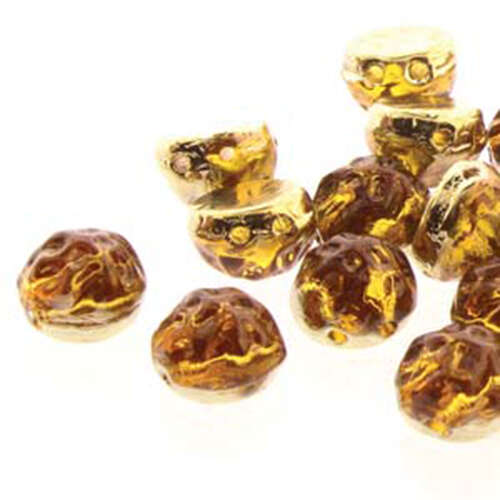 7mm Baroque Cabochon 2 Hole - Backlit Amber/Topaz - CCB0710060-26442