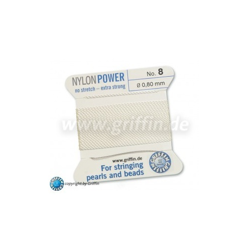 No 8 - 0.80mm - White Carded Bead Cord Nylon Power