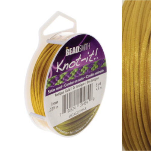 1mm Satin Cord - Antique Gold - SCAGO1MM