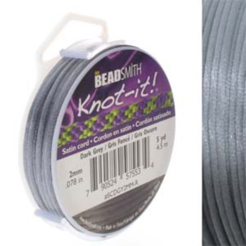 2mm Satin Cord - Dark Grey - SCDGY2MM